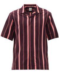 Paul Smith キューバンカラー ストライプ ツイルシャツ - レッド