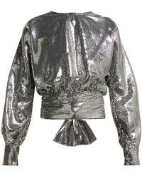 MSGM Open-back Sequin Blouse - Metallic