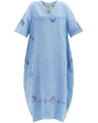 By Walid Zeena Floral-embroidered Upcycled-linen Dress - Blue