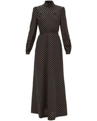 Bella Freud Angelica Polka-dot Silk Midi Dress - Black