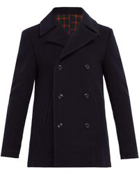 Altea Double Breasted Wool Blend Peacoat - Blue