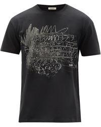 Valentino ローマンスケッチ コットンtシャツ - ブラック