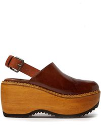 Marni - Leather And Wood Slingback Clog Sandals - Lyst