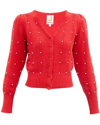JoosTricot Bead-embellished Cotton-blend Cardigan - Red