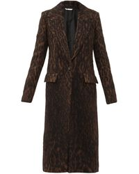 Marina Moscone Single-breasted Leopard-print Coat - Black