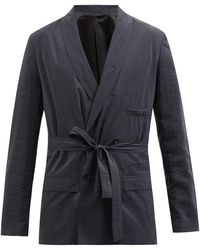 Lemaire Double-breasted Silk-blend Crepe Suit Jacket - Grey