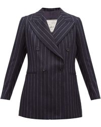 Giuliva Heritage Collection The Stella Pinstriped Wool Double-breasted Blazer - Blue