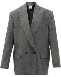 Vetements オーバーサイズ チェックウール ダブルスーツジャケット - グレー