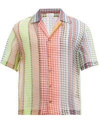 Deveaux Chemise en organza de soie à col cubain - Rouge