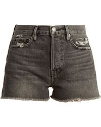 FRAME - Le Original High Rise Distressed Denim Shorts - Lyst