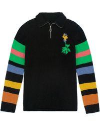 The Elder Statesman Wildflower-intarsia Stripe Cashmere Sweater - Black