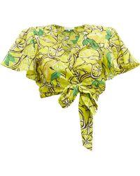 Diane von Furstenberg Hailey Lemon Print Cotton Blend Wrap Top - Green