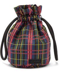 Ganni Tartan Recycled-shell Drawstring Bag - Multicolor