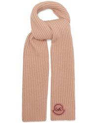 Moncler リブ ウールカシミアスカーフ - ピンク
