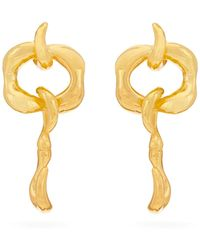 Sophia Kokosalaki Hook Pendulum Sculptural Drop Earrings - Metallic