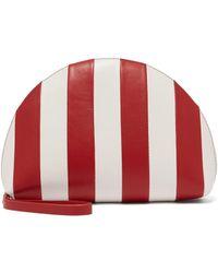 Mansur Gavriel Mini Striped Moon Clutch - Red