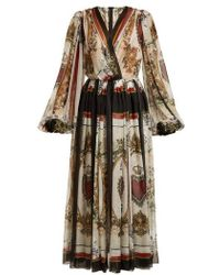 Dolce & Gabbana - Queen Of Hearts And Floral-print Silk Dress - Lyst