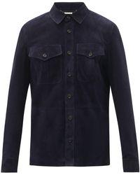 Ralph Lauren Purple Label バロン スエードオーバーシャツ - ブルー