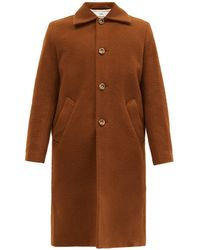 Séfr Ian Single-breasted Wool-blend Fleece Coat - Brown