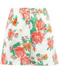 RHODE Reese High-rise Floral-print Cotton-voile Shorts - Multicolour