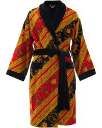 Versace Baroque-print Cotton Bathrobe - Red