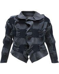 Issey Miyake Ruffled Stretch-denim Cropped Jacket - Blue