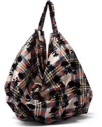 Chopova Lowena Floral-flock Checked-twill Shoulder Bag - Black