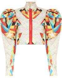MATTY BOVAN Puff-sleeve Panelled Floral-print Deadstock Blouse - Multicolour