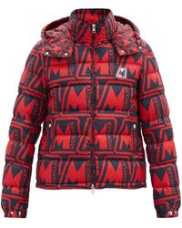 Moncler Frioland Logo-print Quilted Down Hooded Jacket - Red
