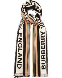 Burberry Écharpe rayée en coton à logo - Noir