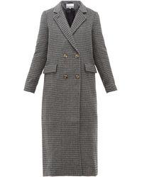Ganni Manteau long en laine mélangée à carreaux - Gris