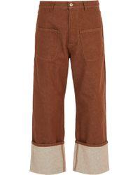 Loewe Patch-pocket Turn-up Jeans - Brown