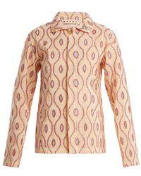 Marni - Embroidered-eyelet Taffeta Jacket - Lyst