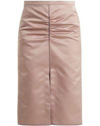N°21 - Ruched Duchesse-satin Midi Skirt - Lyst