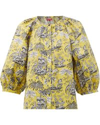 STAUD Dill Tropical-print Cotton-blend Blouse - Yellow