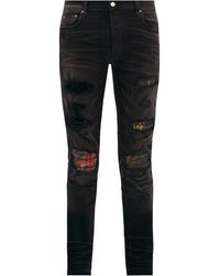 Amiri Mx1 Printed Distressed Jeans - Black