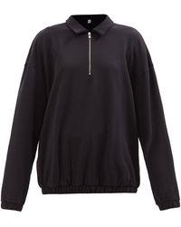 Totême Quarter-zip Organic Cotton-jersey Top - Black