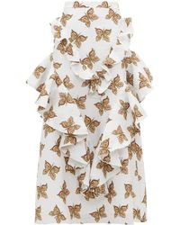 Rodarte Butterfly-print Flounced-cloqué Maxi Skirt - White