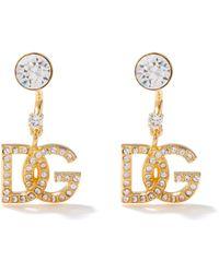 Dolce & Gabbana D & G クリスタル クリップピアス - メタリック