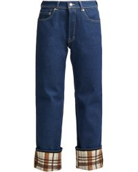 Acne Studios - Checked Cuff Straight Leg Jeans - Lyst
