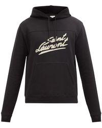 Saint Laurent コットンスウェットパーカー - ブラック