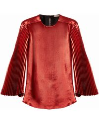 Christopher Kane | Pleated-sleeve Silk-blend Lamé Blouse | Lyst