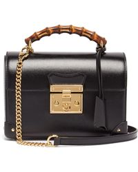 Gucci Padlock Bamboo-handle Leather Handbag - Black