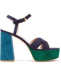 Gianvito Rossi Tri-colour 70 Suede Platform Sandals - Blue
