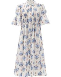 Evi Grintela Puff-sleeve Floral-print Cotton Midi Dress - Blue