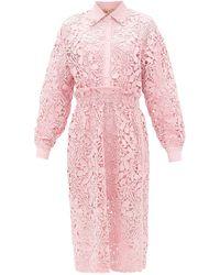 N°21 ギピュールレース シャツドレス - ピンク