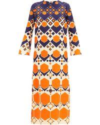 Gucci プリント シルクウール ドレス - オレンジ