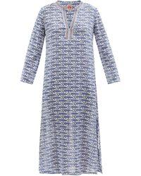 Le Sirenuse Loren Leopard-print Cotton-voile Kaftan - Blue