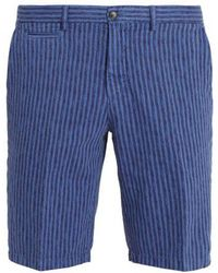 Altea - Striped Straight-leg Cotton And Linen-blend Shorts - Lyst