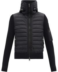 Moncler Down-quilted Wool-blend Hooded Cardigan - Black